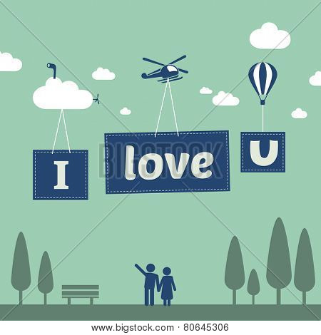 Couple in park - happy valentines day greeting card in flat design style with I love you text in the sky