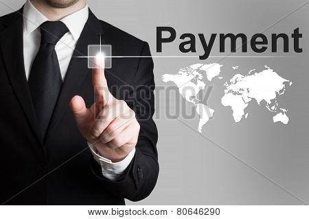 Businessman Pushing Button Payment International Service