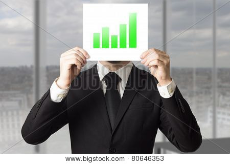 Businessman Hiding Face Behind Sign Green Bar Diagram