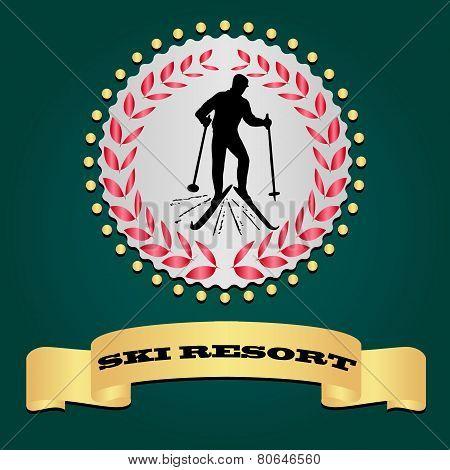 Ski resort logo. Silhouette of the skier