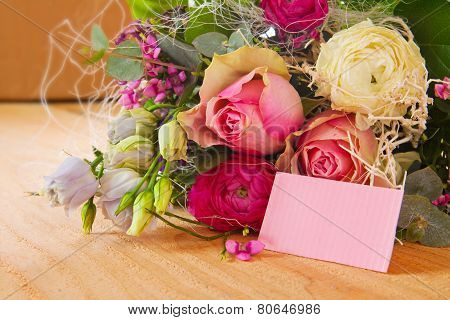 Birthday card and flowers bouquet.
