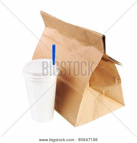 Recycle Paper Bag And Cup Of Coffee Or Tea Isolated On White Background.