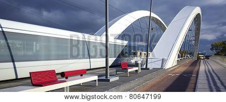 Tramway Crossing A Bridge