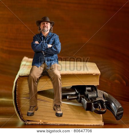 Man Sitting On The Book