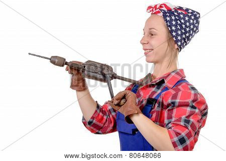 Pretty Young Woman With A Old Drill