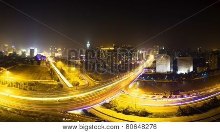 panoramic skyline and traffic,flyover in modern city