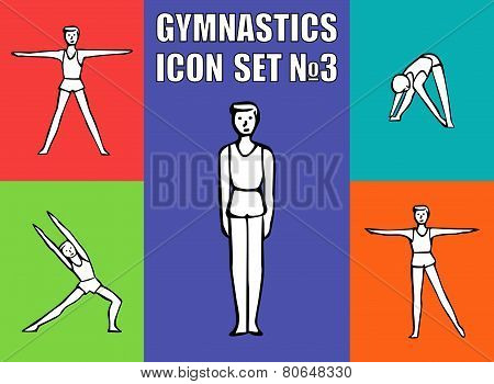 Boy gymnast athlete performs a variety exercises