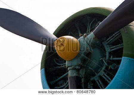 Closeup Of Radial Aircraft Engine