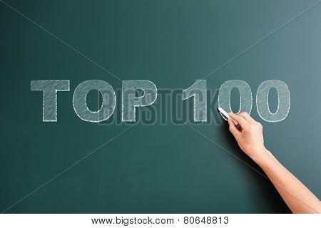 top 100 written on blackboard