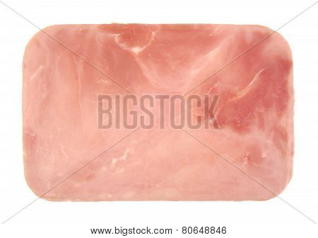 Closeup of one cooked and boiled ham sausage slice isolated on white background.