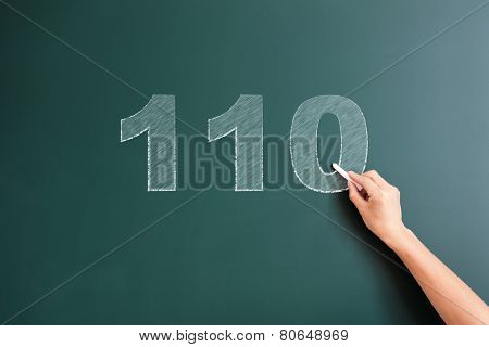 110 written on blackboard