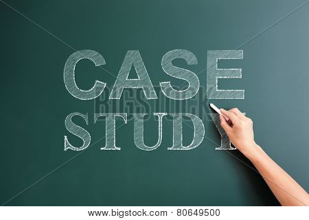case study written on blackboard