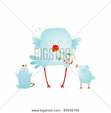 Cartoon Fun and Cute Mother Bird with her Babies