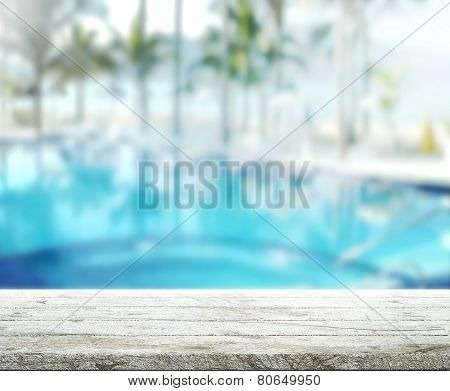 Wood Table  Top Background And Pool 3D Render
