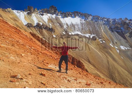 Hiker On Colored Mountain
