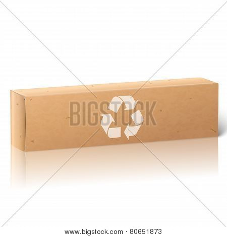 Realistic white blank paper craft package box with recycle sign, for oblong stuff