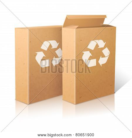 Two realistic white blank paper ecologic craft packages with recycle sign