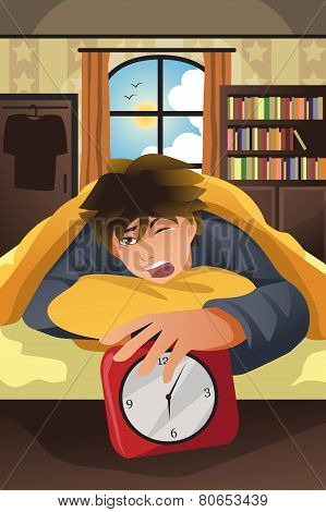 Sleeping Man Turning Off Alarm