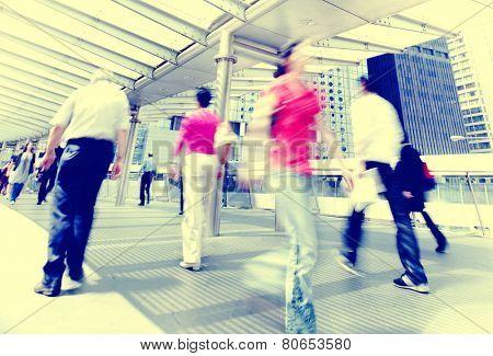 Hong Kong People Commuters City Walking Pedestrian Concept