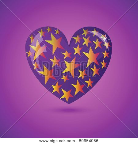 Vector Illustration - Glass Heart With Stars