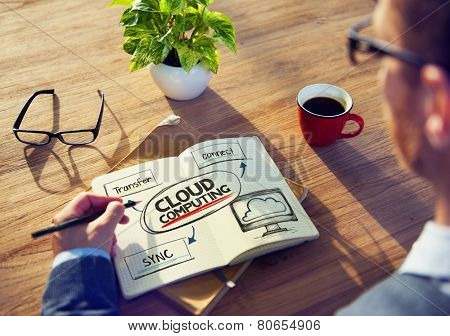 Man with Note Pad and Cloud Computing Concept
