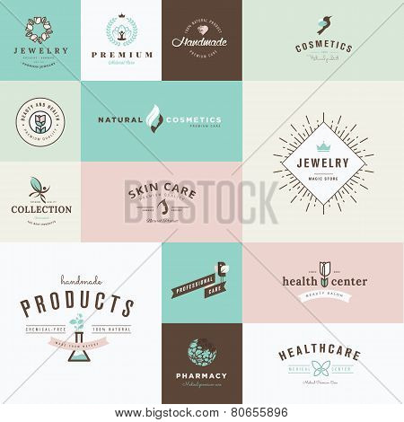 Set of flat design icons for beauty and cosmetics, jewelry, healthcare