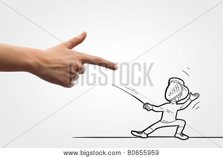 Funny caricature of man fencer fighting with human hand