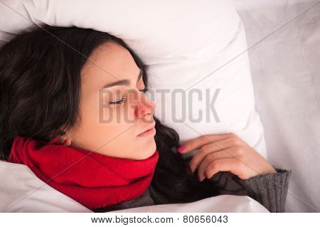 Young girl lying on the pillow