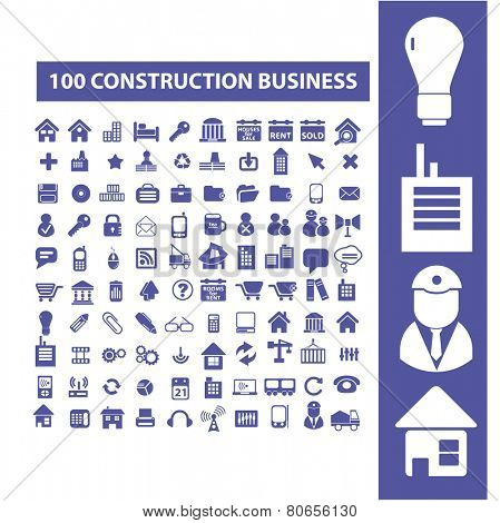 100 construction, architecture, real estate icons, signs, vector illustrations