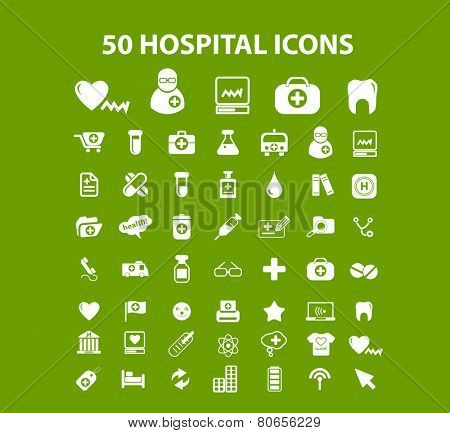 50 hospital, health care center icons, signs, illustration isolated on background set, vector
