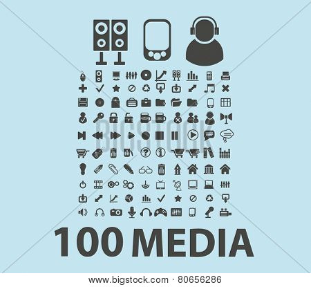 100 music, audio, video, media icons, signs, vector illustrations