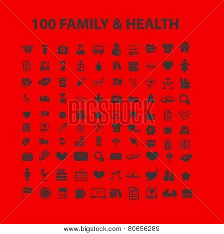 100 black health, family, travel, shopping web icons, signs, vector illustrations