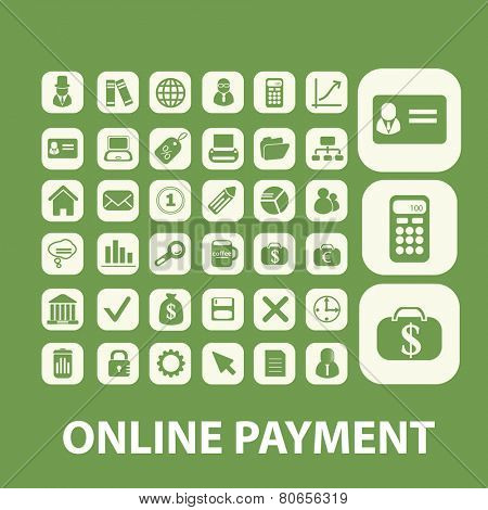 online payment, bank, atm, finance, money web icons, signs, illustration isolated on background set, vector