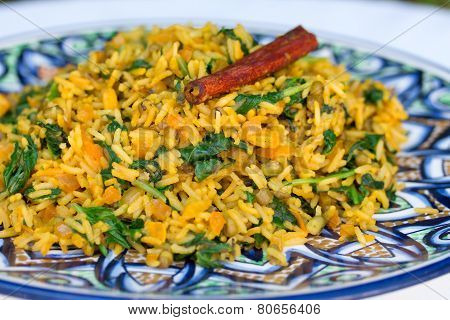 Traditional Indian Dish Called Khichdi With Cinnamon Stick