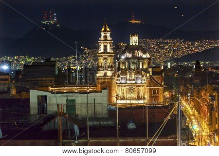 Plaza De Santa Domingo Chruches Zocalo Mexico City Christmas Night