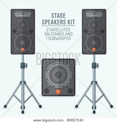 color flat style loudspeakers on stands and subwoofer illustration