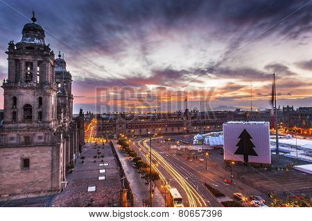 Metropolitan Cathedral Zocalo Mexico City Christmas Sunrise