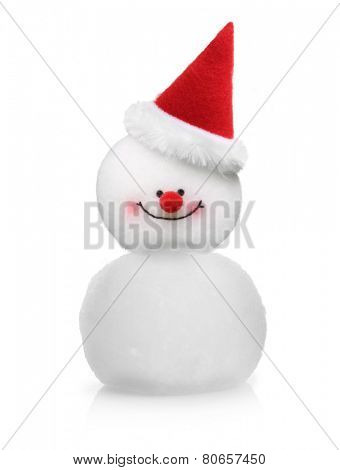 Snowman in Santa Claus xmas red hat isolated on white background.