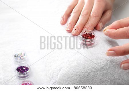 Beauty salon manicure a woman at the beautician