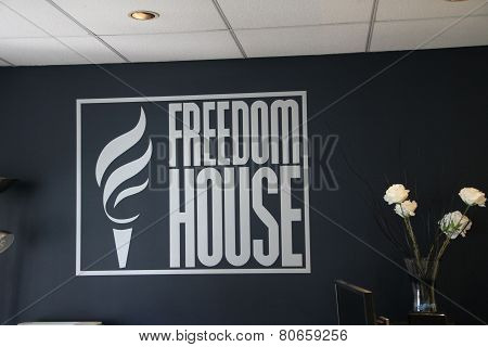 The Logo Of The Organization Freedom House In Their Office In Washington, D.c.