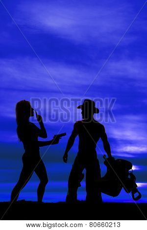 Silhouette Of A Woman  With A Gun Shhh