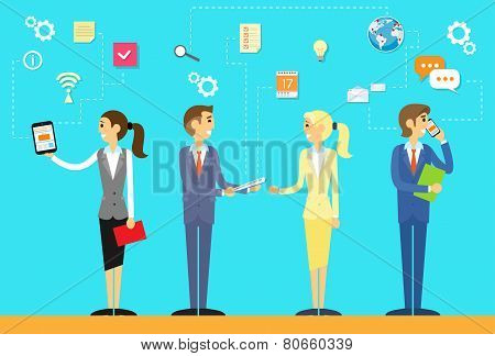business people using digital device concept flat