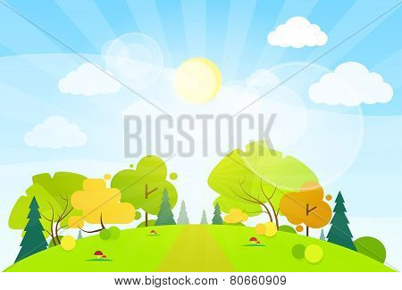 summer landscape mountain forest road blue cloud sky