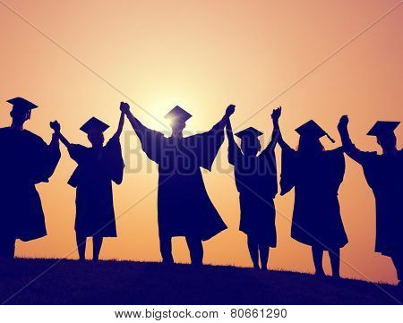 Students Graduation Success Achievement Celebration Happiness Concept
