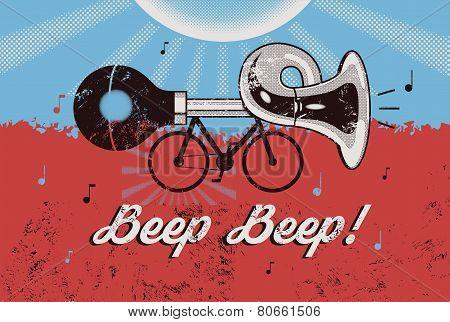 Bike with klaxon. Retro grunge poster. Vector illustration.