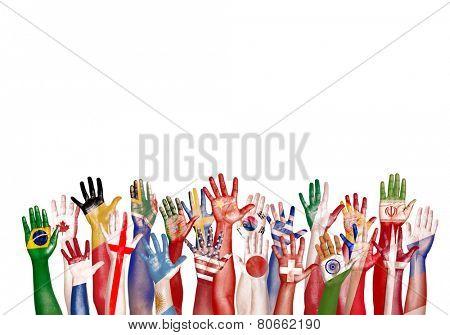 Hands Flag Symbol Diverse Diversity Ethnic Ethnicity Unity Concept