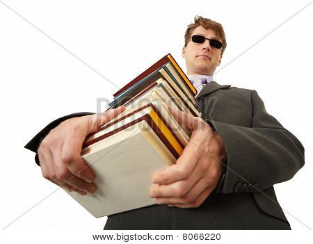 Blind Man Holding Stack Of Books