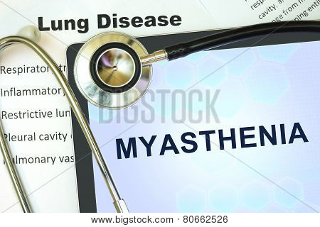 Tablet with word myasthenia and stethoscope.