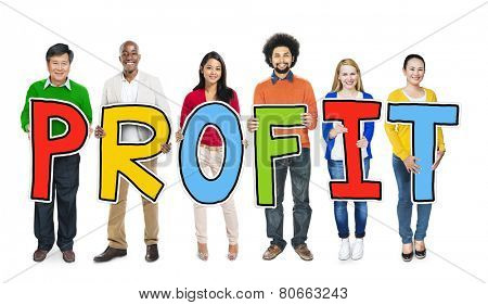 Multiethnic Group of People Holding Letter Profit
