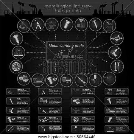 Set Of Elements And Tools Of Metallurgical Industry For Creating Infograpics